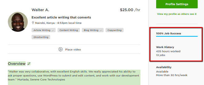 article writer in Upwork