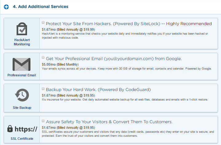 hostgator additional services