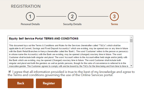 Equity Bank Self Service Terms and Conditions