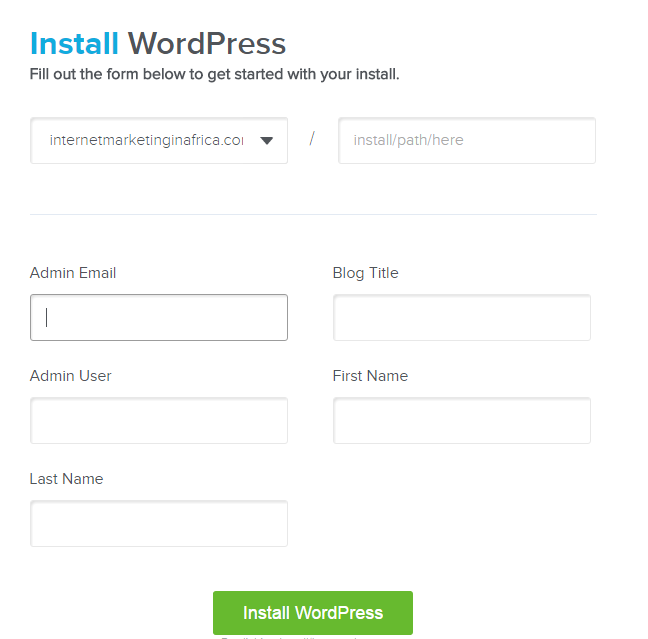 WordPress details on Quick Install